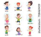 cute little girls and boys... | Shutterstock .eps vector #708469459