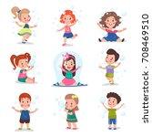 cute little children blowing... | Shutterstock .eps vector #708469510