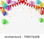 confetti colorful balloon and... | Shutterstock .eps vector #708476608