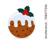 traditional christmas pudding.... | Shutterstock .eps vector #708477346