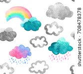 cute watercolor clouds with... | Shutterstock . vector #708478378