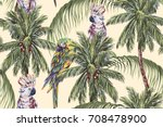 tropical seamless floral... | Shutterstock .eps vector #708478900