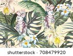 tropical floral vector seamless ... | Shutterstock .eps vector #708479920