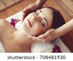 beautiful girl getting face... | Shutterstock . vector #708481930