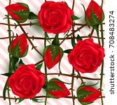 english roses seamless. red... | Shutterstock .eps vector #708483274