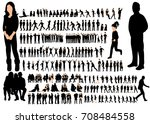 isolated silhouettes set of... | Shutterstock . vector #708484558