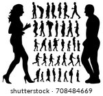 collection of silhouettes of a ... | Shutterstock . vector #708484669