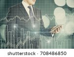 businessman using smartphone... | Shutterstock . vector #708486850