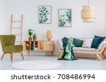 pear green chair near cupboard... | Shutterstock . vector #708486994
