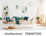 pineapple on wooden stool in... | Shutterstock . vector #708487030