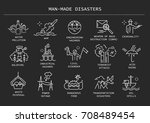 vector set of thin line icons... | Shutterstock .eps vector #708489454