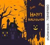 happy halloween poster design... | Shutterstock .eps vector #708489880