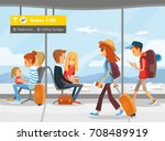 people in the airport terminal | Shutterstock .eps vector #708489919