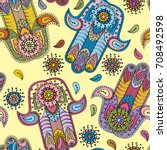 seamless vector indian hand... | Shutterstock .eps vector #708492598