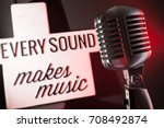audio microphone retro style | Shutterstock . vector #708492874