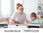smiling mother helping her son...   Shutterstock . vector #708493228