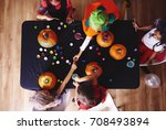kids in costume decorating a... | Shutterstock . vector #708493894