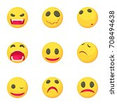 funny emoji icons set. cartoon... | Shutterstock .eps vector #708494638
