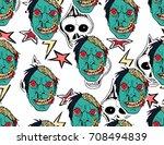 halloween background. scary... | Shutterstock .eps vector #708494839