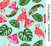 tropical vector illustration... | Shutterstock .eps vector #708497914