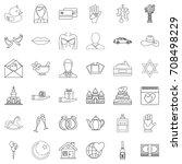 wedding icons set. outline... | Shutterstock .eps vector #708498229