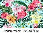 Stock vector floral seamless vector tropical pattern background with exotic flowers palm leaves jungle leaf 708500140