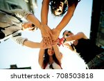 close up of friends holding... | Shutterstock . vector #708503818