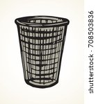 grey rough wire iron trashbin... | Shutterstock .eps vector #708503836