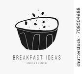 hand drawn breakfast bowl.... | Shutterstock .eps vector #708504688
