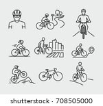 bicycle rider vector line icons  | Shutterstock .eps vector #708505000