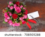 lovely bouquet of pink roses... | Shutterstock . vector #708505288