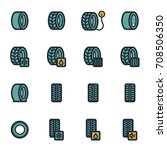 vector flat tire icons set on... | Shutterstock .eps vector #708506350