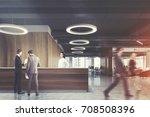 wooden reception desk is... | Shutterstock . vector #708508396
