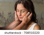 comforting hands around the... | Shutterstock . vector #708510220