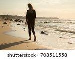 Sad Blond Barefoot Woman...