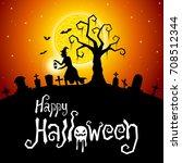 halloween vector card or... | Shutterstock .eps vector #708512344