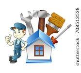 Repair Man At Home With Tool...