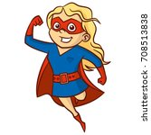 super hero girl cartoon... | Shutterstock .eps vector #708513838