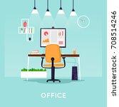 office interior with desktop ... | Shutterstock .eps vector #708514246