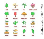 tree vector line icons with... | Shutterstock .eps vector #708515248