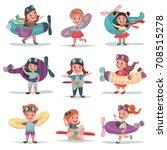 cute little kids in pilot...   Shutterstock .eps vector #708515278