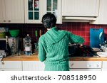 back view of young woman... | Shutterstock . vector #708518950