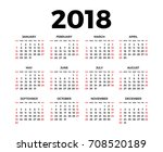 calendar for 2018 on white... | Shutterstock . vector #708520189