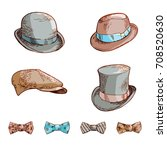 set of hats and bows. hand... | Shutterstock .eps vector #708520630