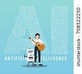 ai robot and guitarist...   Shutterstock .eps vector #708522250