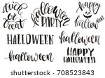set of hand painted lettering... | Shutterstock . vector #708523843