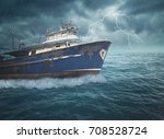 boat on the ocean with great... | Shutterstock . vector #708528724