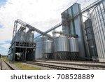 agricultural silos. metal grain ...   Shutterstock . vector #708528889