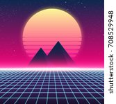 synthwave retro design ... | Shutterstock .eps vector #708529948