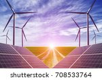 new energy  wind turbines and...   Shutterstock . vector #708533764